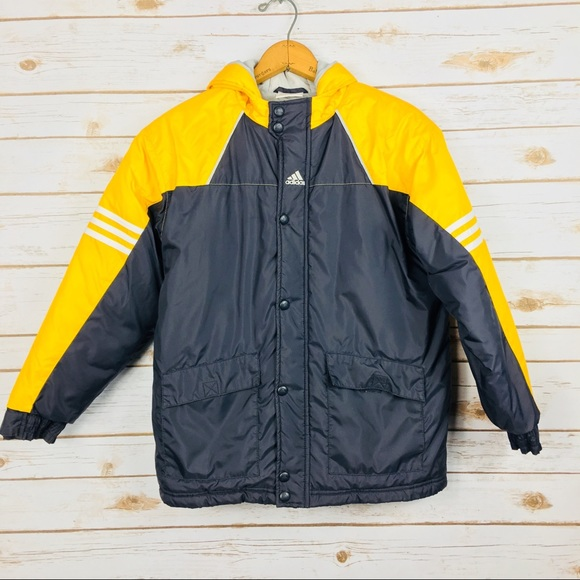 yellow adidas jacket with white stripes